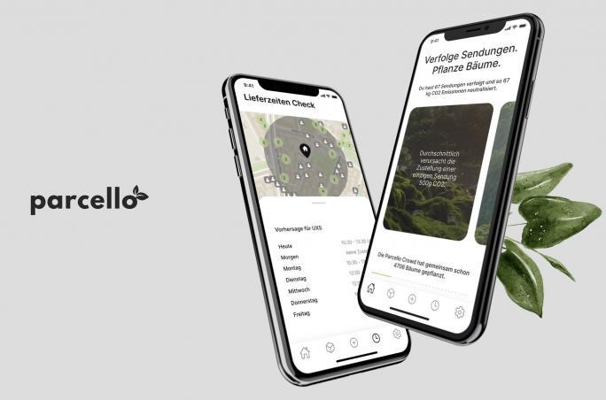 Darstellung des Interface der Parcello App