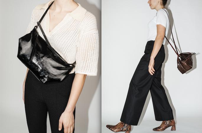 Model posiert mit Taschen von Ina Kent