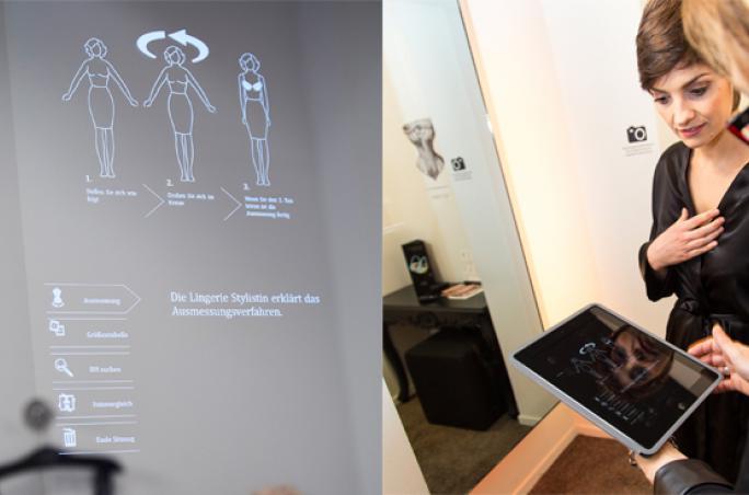 Lingerie-Spezialist , Vermessungstechnologie , Spiegel, 3D-Bodyscanner, Rigby & Peller