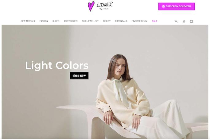 Screenshot der Lochner Top Fashion Homepage